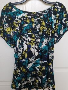 Style & Co Abstract Blue/Black Wide Neck Blouse